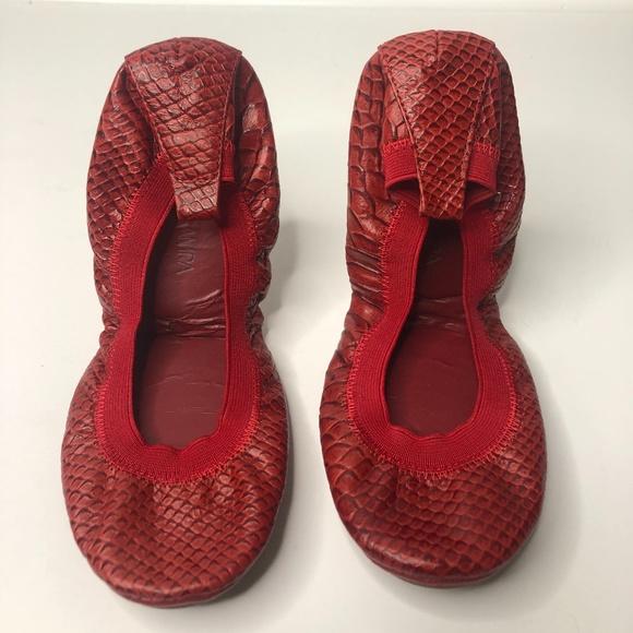 Yosi Samra Oxblood Red Snake Print Leather Flats